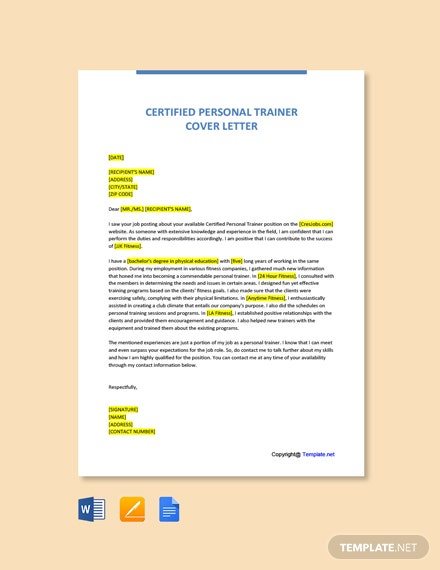 Free Certified Personal Trainer Cover Letter Template