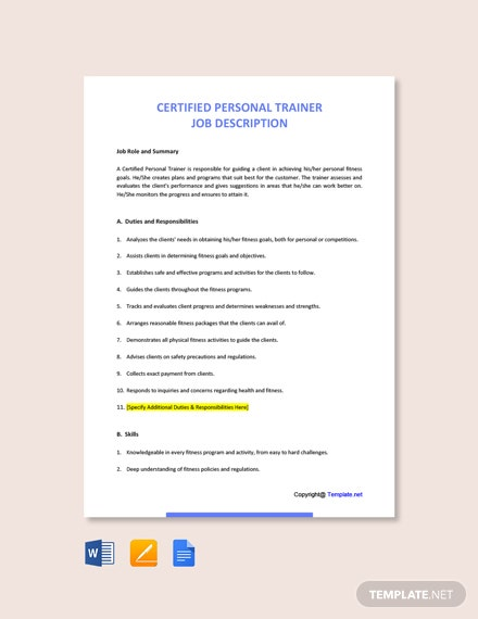 Free Certified Personal Trainer Job Ad/Description Template