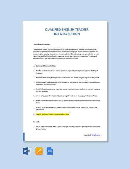 Free Qualified English Teacher Job Description Template