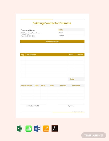 Free Building Contractor Estimate Template