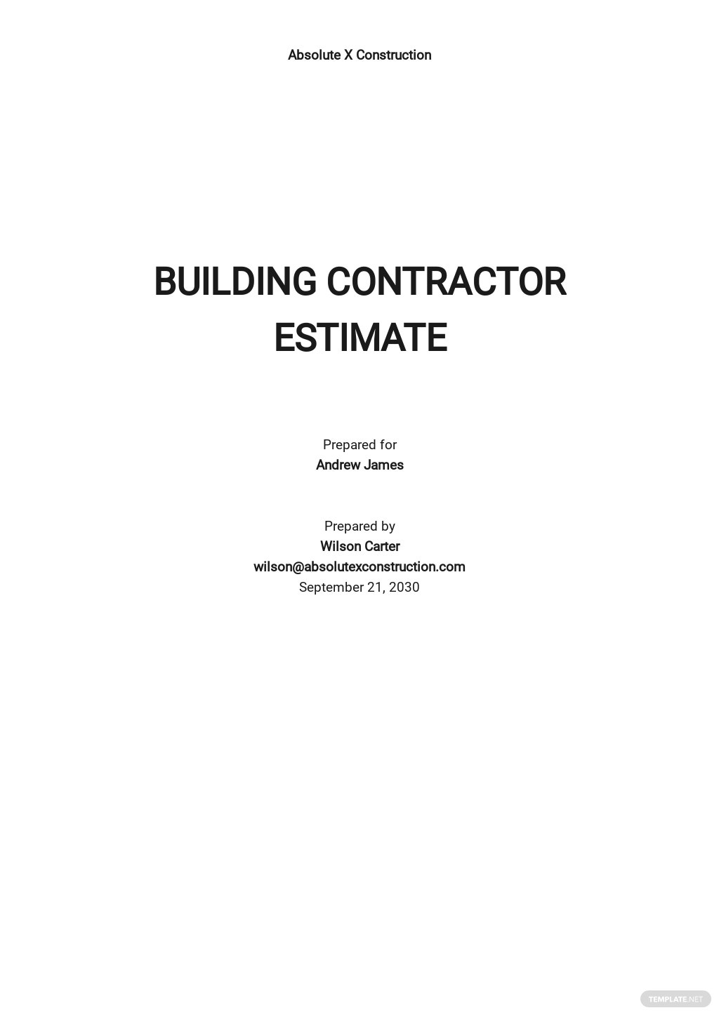 Building Contractor Estimate Template