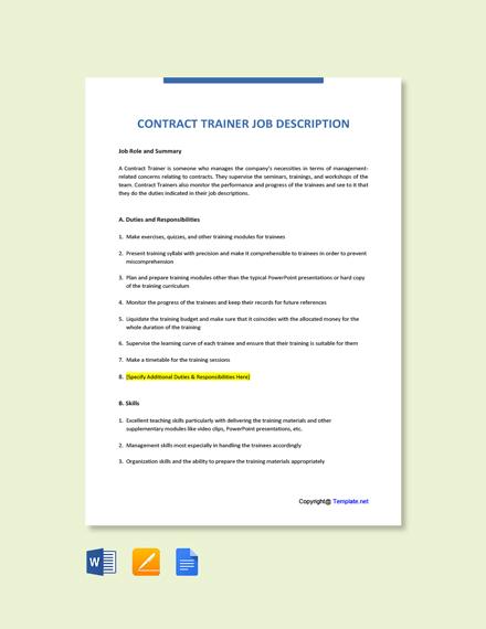 Free Contract Trainer Job Ad/Description Template