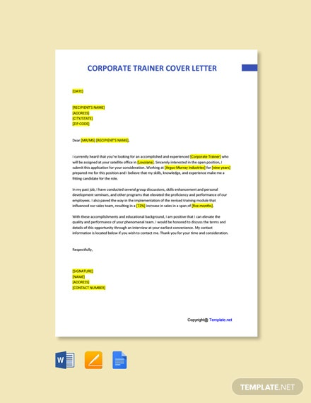 Free Corporate Trainer Cover Letter Template