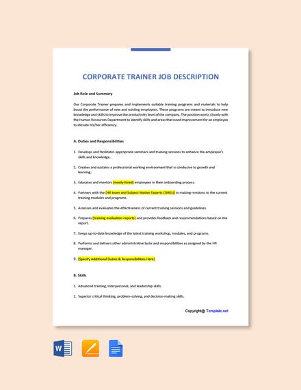 Free Corporate Trainer Job Ad/Description Template