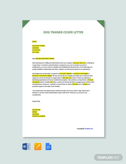 Free Dog Trainer Cover Letter Template