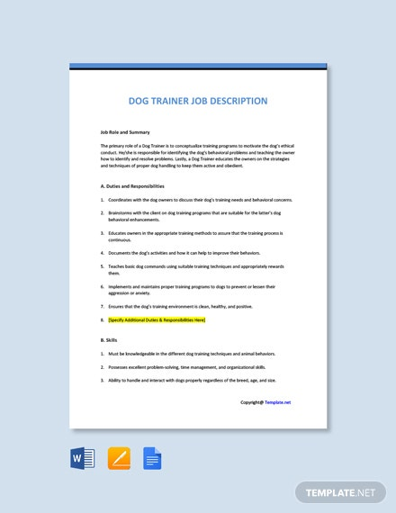 Free Dog Trainer Job Ad and Description Template