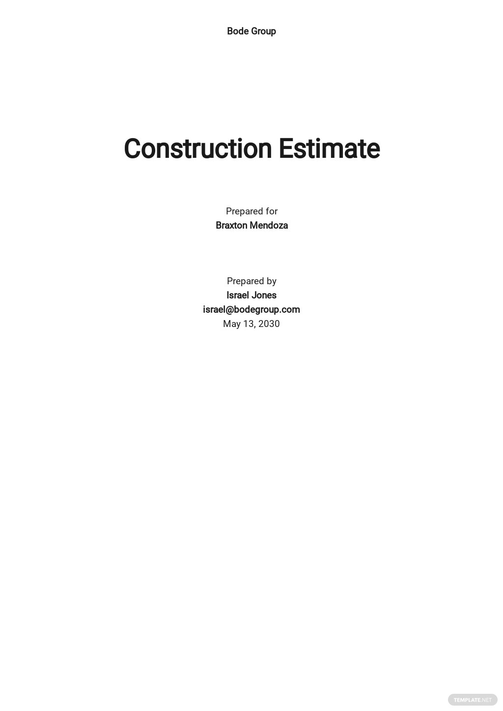 Printable Construction Estimate Template
