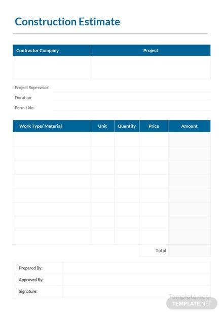 Printable Construction Estimate Template