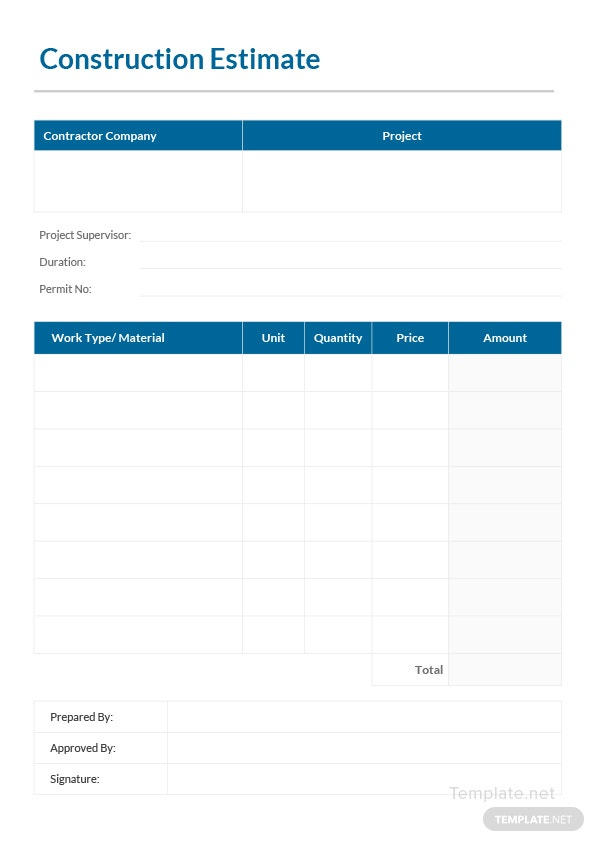 Printable Construction Estimate Template In Microsoft Word