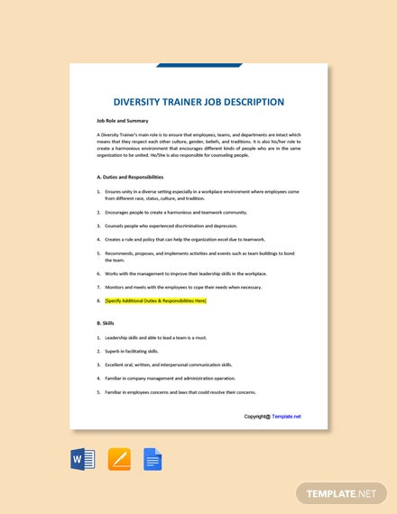 Free Diversity Trainer Job Ad/Description Template