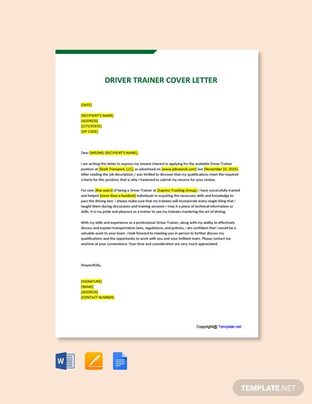 Free Driver Trainer Cover Letter Template