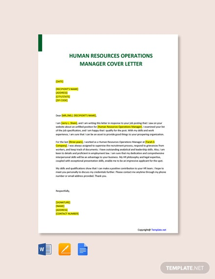 Free Human Resources Operations Manager Cover Letter Template