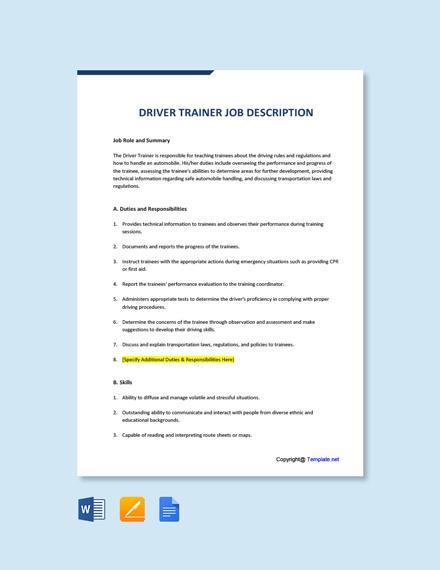 Free Driver Trainer Job Description Template