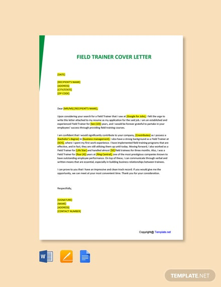 Free Field Trainer Cover Letter Template