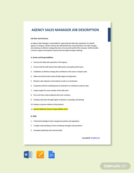 Free Agency Sales Manager Job Description Template