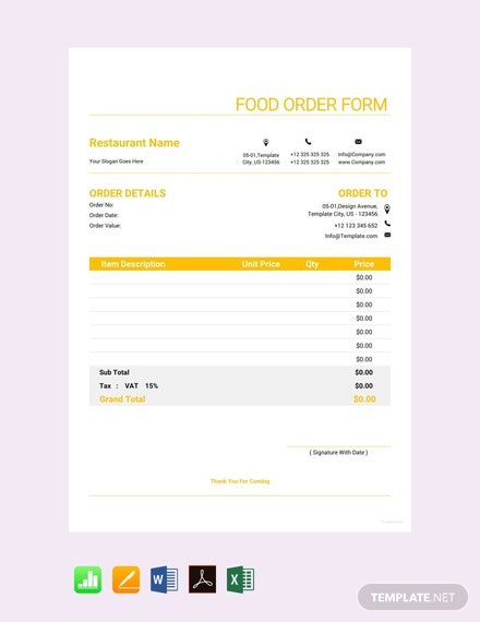 order form google sheets  FREE Food Order Form Template - PDF | Word | Excel | Apple ...