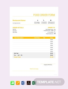 Free Food Order Form Template