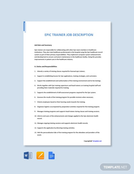 Free Epic Trainer Job Ad and Description Template