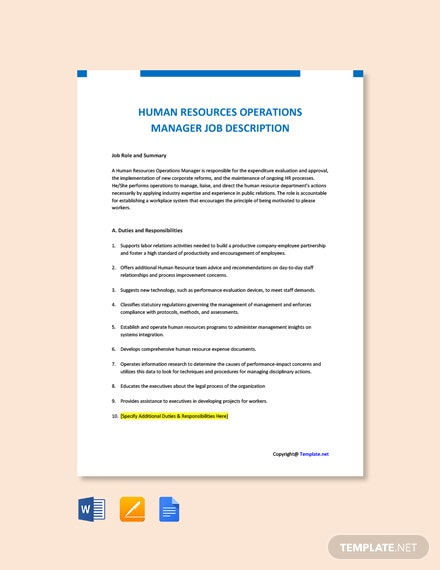 Free Human Resources Operations Manager Job Ad and Description Template