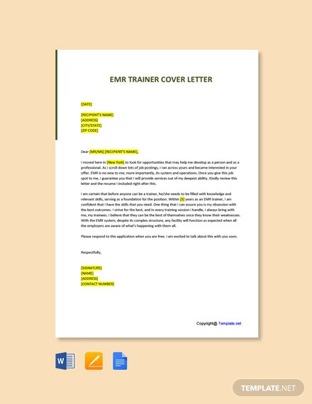 Free Emr Trainer Cover Letter Template