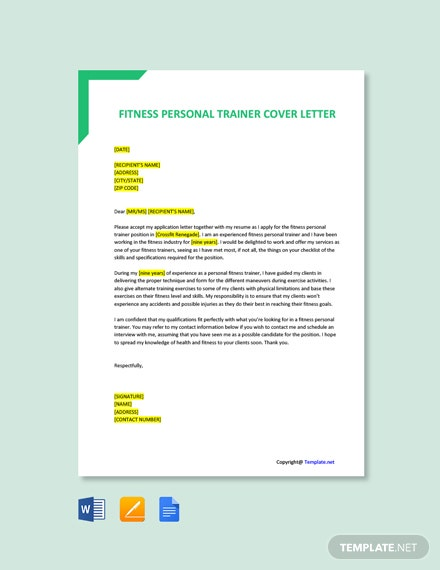 Fitness Personal Trainer Cover Letter Template