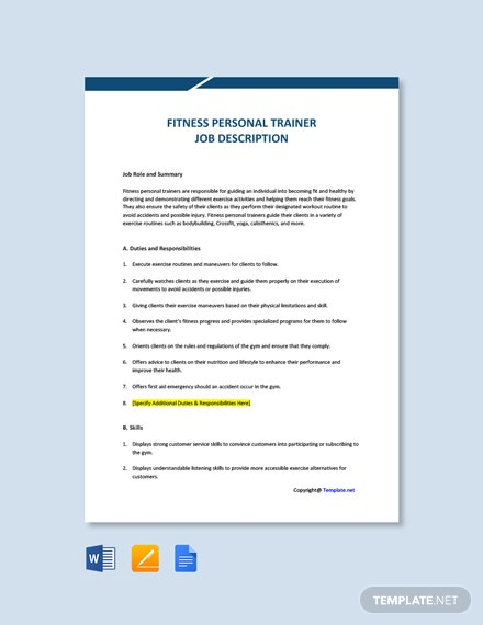 Free Fitness Personal Trainer Job Ad and Description Template