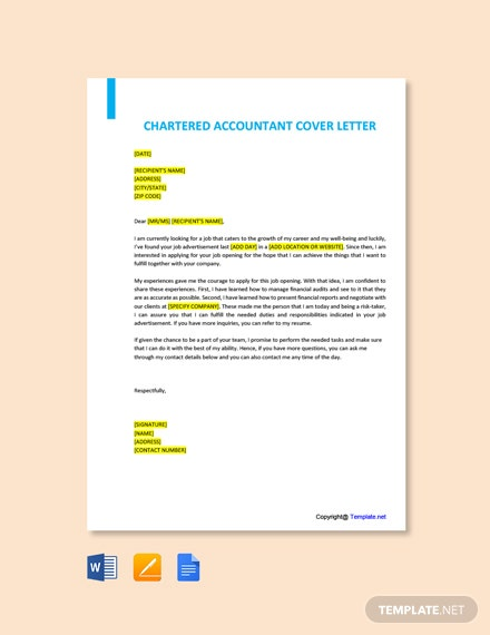 Free Chartered Accountant Cover Letter Template