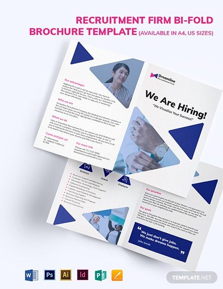 Recruitment Firm Bifold Brochure Template [Free Publisher] - Illustrator, InDesign, Word, Apple Pages, PSD