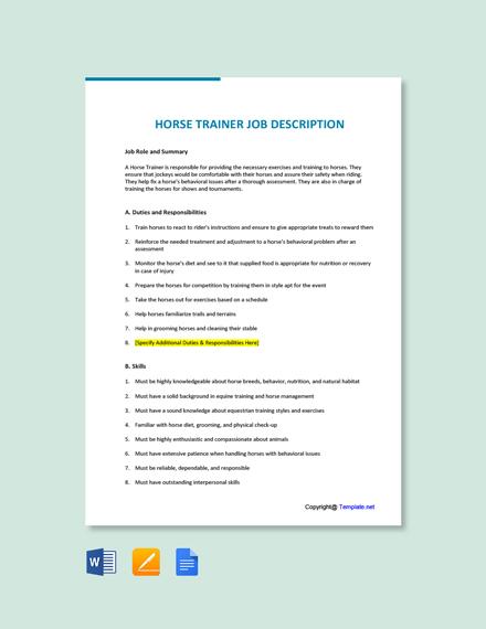 Free Horse Trainer Job Ad/Description Template