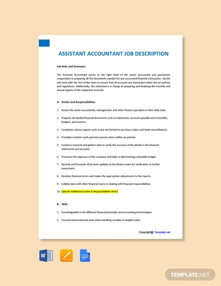 Free Assistant Accountant Job Ad/Description Template
