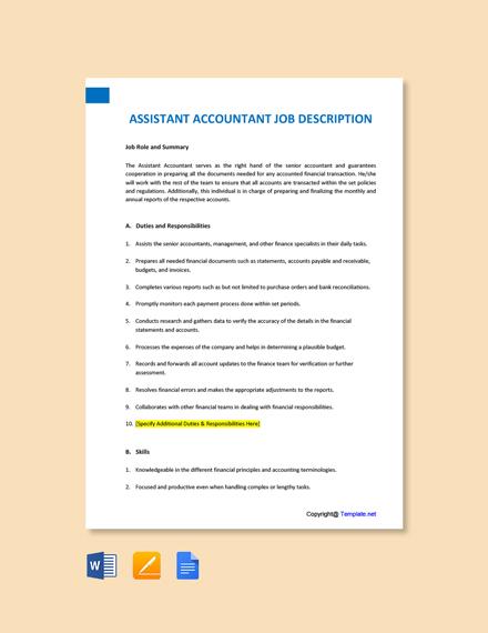 Free Assistant Accountant Job Ad/Description Template
