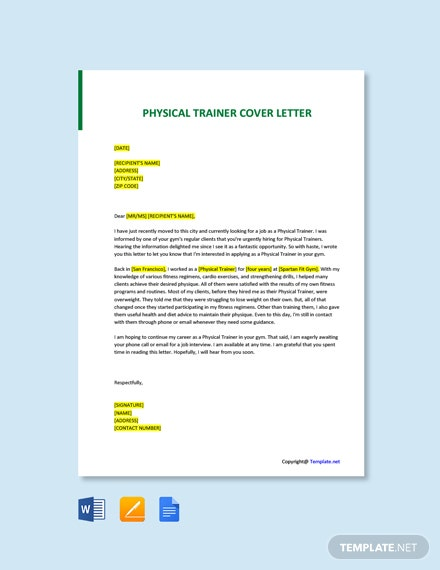 Free Physical Trainer Cover Letter Template