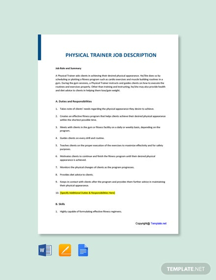 Free Physical Trainer Job Ad/Description Template