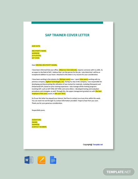 Free SAP Trainer Cover Letter Template