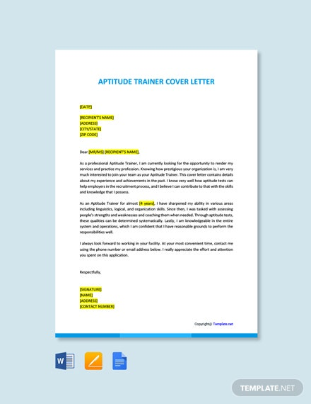 Free Aptitude Trainer Cover Letter Template