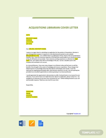 Free Acquisitions Librarian Cover Letter