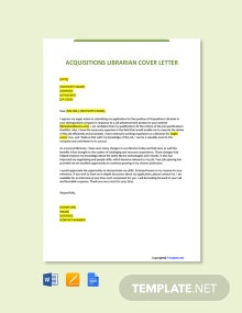 Free Acquisitions Librarian Cover Letter Template