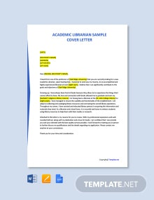 Free Academic Librarian Sample Cover Letter Template