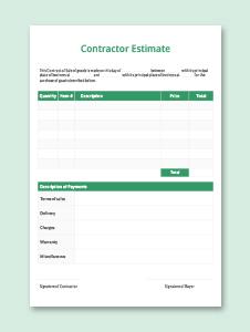 Contractor Estimate Template