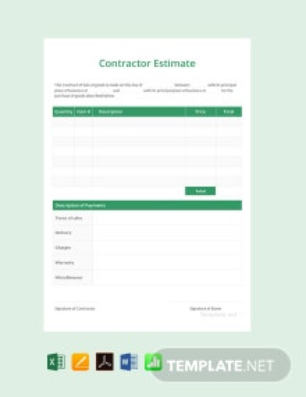 Free Contractor Estimate Template