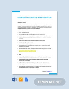Free Chartered Accountant Job Ad/Description Template