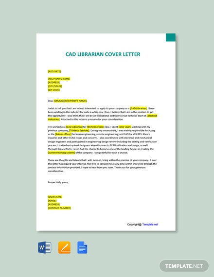 Free CAD Librarian Cover Letter Template