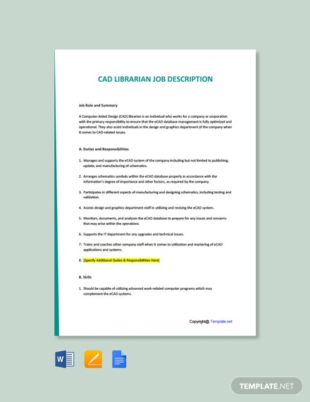 Free CAD Librarian Job Ad/Description Template