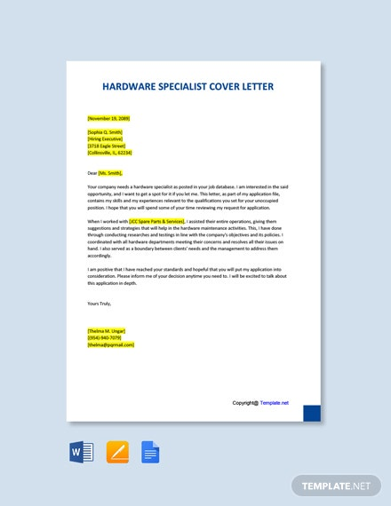 Free Hardware Specialist Cover Letter Template