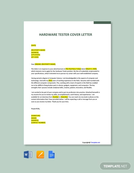 Free Hardware Tester Cover Letter Template