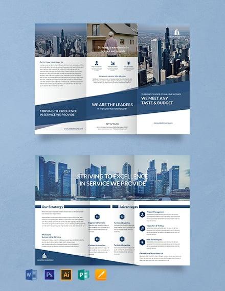 Architecture A3 Tri-Fold Brochure Template