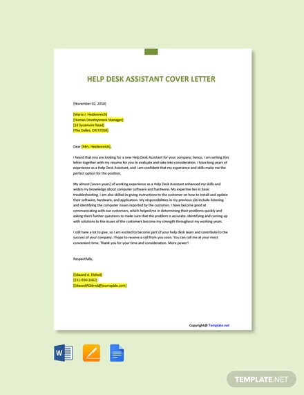 Free Help Desk Assistant Cover Letter Template