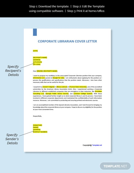 Corporate Librarian Cover Letter Template