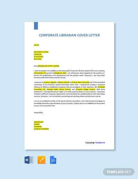 Corporate Librarian Cover Letter