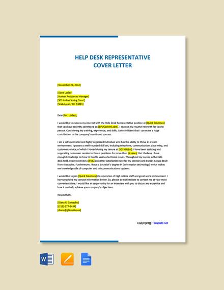 Free Help Desk Representative Cover Letter Template